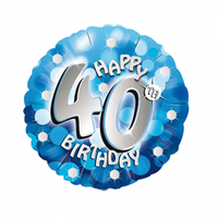 Anagram - 18 inch Holo Everts Foil Balloon - 40th Birthday- Blue - Cover