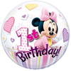Qualatex - 22 inch Single Bubble Balloon - Minnie Mouse 1st Birthday Cover