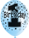 Unique Party - 12 inch Pearlised Latex Balloons - 1st Birthday Blue (Pack of 5)