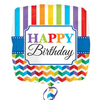 Anagram - 18 inch Square Foil Balloon - Happy Birthday Bright Stripe & Chevron