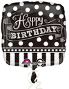 Anagram - 18 inch Square Foil Balloon - Black/White Chalk Happy Birthday