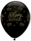 Creative Party - Black and Gold 12 inch Latex Balloons - Happy Birthday All Round Print (Pack of 6)