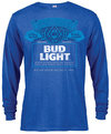 Bud Light - Label Long Sleeve Men's Heather Blue T-Shirt (Medium)