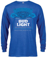 Bud Light - Label Long Sleeve Men's Heather Blue T-Shirt (XX-Large) - Cover