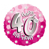 Anagram - 18 inch Holo Everts Foil Balloon - 40th Birthday - Pink Cover
