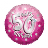 Anagram - 18 inch Holo Everts Foil Balloon - 50th Birthday - Pink
