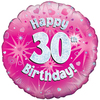 Oaktree - 18 inch Foil Balloon - Happy 30th Birthday Pink Holographic Cover