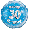 Oaktree - 18 inch Foil Balloon - Happy 30th Birthday Blue Holographic