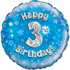 Oaktree - 18 inch Foil Balloon - Happy 3rd Birthday Blue Holographic