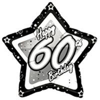 Creative Party - 18 inch Black/Silver Star Balloon - Age 60 - Cover