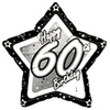 Creative Party - 18 inch Black/Silver Star Balloon - Age 60 Cover
