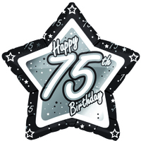 Creative Party - 18 inch Black/Silver Star Balloon - Age 75 - Cover