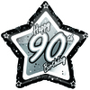 Creative Party - 8 inch Black/Silver Star Balloon - Age 90
