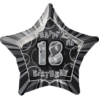 Unique Party - 20 inch Star Foil Balloon - 18th Birthday -  Black/Silver - Cover
