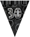 Unique Party - Black/Silver Glitz Pennant Bunting - 30th Birthday Cover