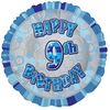 Unique Party - 18 inch Blue Prism Foil Balloon - 9th Birthday