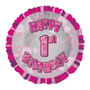 Unique Party - 18 inch Pink Prism Foil Balloon - 1st Birthday