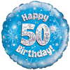 Oaktree - 18 inch Foil Balloon - Happy 50th Birthday - Blue Holographic