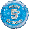 Oaktree - 18 inch Foil Balloon - Happy 5th Birthday - Blue Holographic