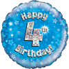 Oaktree - 18 inch Foil Balloon - Happy 4th Birthday - Blue Holographic