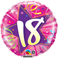 Qualatex - 18 inch Round Foil Balloon - 18th Birthday Shining Star Hot Pink - Cover