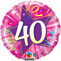 Qualatex - 18 inch Round Foil Balloon - 40th Birthday - Shining Star Hot Pink - Cover