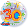 Qualatex - 22 inch Single Bubble Balloon - 30th Birthday - Brilliant Stars Cover