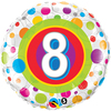 Qualatex - 18 inch Round Foil Balloon - Age 8 - Colourful Dots