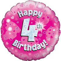 Oaktree - 18 inch Foil Balloon - Happy 4th Birthday - Pink Holographic - Cover