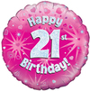 Oaktree - 18 inch Foil Balloon - Happy 21st Birthday Pink Holographic