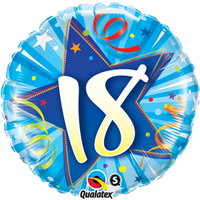 Qualatex - 18 inch Round Foil Balloon - 18th Birthday - Shining Star Bright Blue - Cover