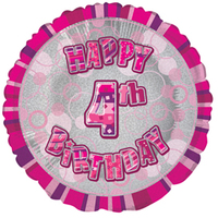 Unique Party - 18 inch Pink Prism Foil Balloon - 4th Birthday - Cover