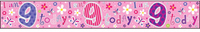 Simon Elvin - Holographic Foil Banner - I Am 9 Today- Pink - Cover