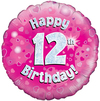 Oaktree - 18 inch Foil Balloon - Happy 12th Birthday - Pink Holographic