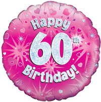 Oaktree - 18 inch Foil Balloon - Happy 60th Birthday - Pink Holographic - Cover