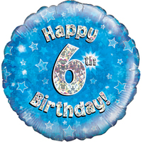 Oaktree - 18 inch Foil Balloon - Happy 6th Birthday - Blue Holographic - Cover