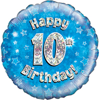 Oaktree - 18 inch Foil Balloon - Happy 10th Birthday - Blue Holographic - Cover