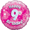 Oaktree - 18 inch Foil Balloon - Happy 9th Birthday - Pink Holographic