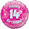 Oaktree - 18 inch Foil Balloon - Happy 14th Birthday - Pink Holographic
