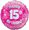 Oaktree - 18 inch Foil Balloon - Happy 15th Birthday - Pink Holographic