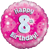 Oaktree - 18 inch Foil Balloon - Happy 8th Birthday - Pink Holographic - Cover