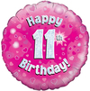 Oaktree - 18 inch Foil Balloon - Happy 11th Birthday - Pink Holographic