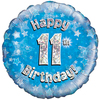 Oaktree - 18 inch Foil Balloon - Happy 11th Birthday - Blue Holographic