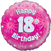 Oaktree - 18 inch Foil Balloon - Happy 18th Birthday - Pink Holographic Cover