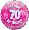 Oaktree - 18 inch Foil Balloon - Happy 70th Birthday - Pink Holographic Cover