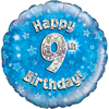 Oaktree - 18 inch Foil Balloon - Happy 9th Birthday - Blue Holographic