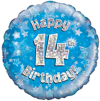 Oaktree - 18 inch Foil Balloon - Happy 14th Birthday - Blue Holographic - Cover
