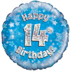 Oaktree - 18 inch Foil Balloon - Happy 14th Birthday - Blue Holographic