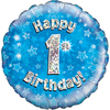 Oaktree - 18 inch Foil Balloon - Happy 1st Birthday - Blue Holographic