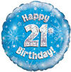 Oaktree - 18 inch Foil Balloon - Happy 21st Birthday - Blue Holographic